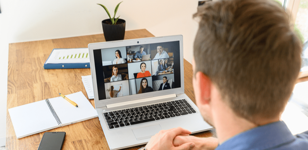 a person participates in a web call with their team