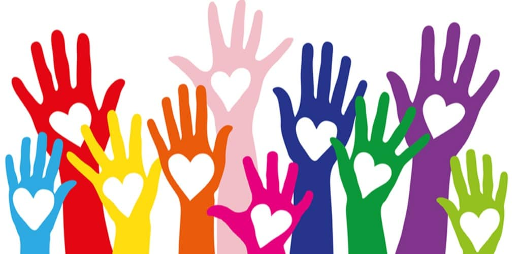 ten colourful digital hands with hearts in their palms reach up high