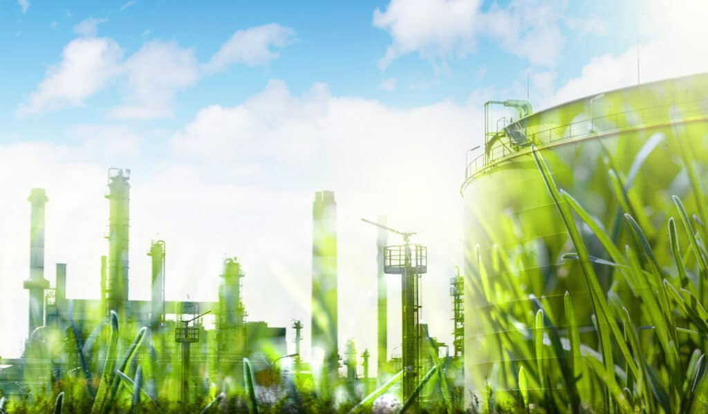 an industrial site with an overlay of a grass texture